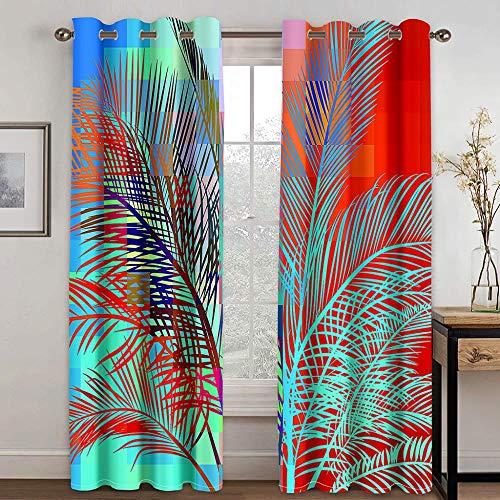 FSMYQH Cortinas Salón Opacas Aislantes Térmicas Flores de Colores Cortinas Opacas para Ventanas Dormitorio Salón Moderno 234 x 137 cm
