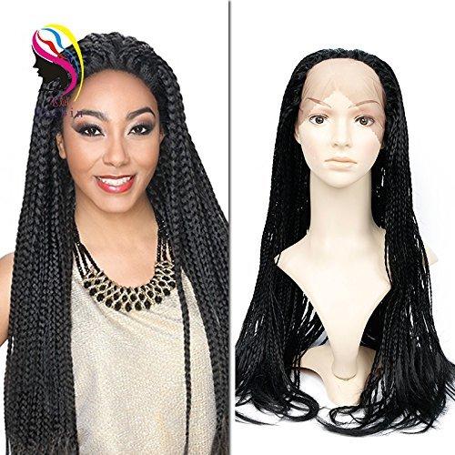 Synthétique tressé Perruque lace front pour femme noire (African American Box tresses Perruques) de couleur noire (24 Inch)