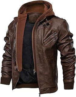 KEFITEVD ライダースジャケット メンズ pu フェイクレザージャケット フード付き パーカー 防風 ブルゾン 大きいサイズ ジャンパー カジュアル アウター