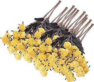 10 قطع من الزهور الصناعية الوردية الطويلة من الحرير الاصطناعي باقة الزفاف DIY من الزهور وهمية 65*2.5cm اصفر