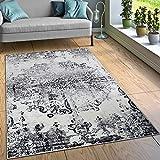 Paco Home Designer Teppich Wohnzimmer Teppiche Ornamente Vintage Optik Schwarz Weiß, Grösse:60x100 cm
