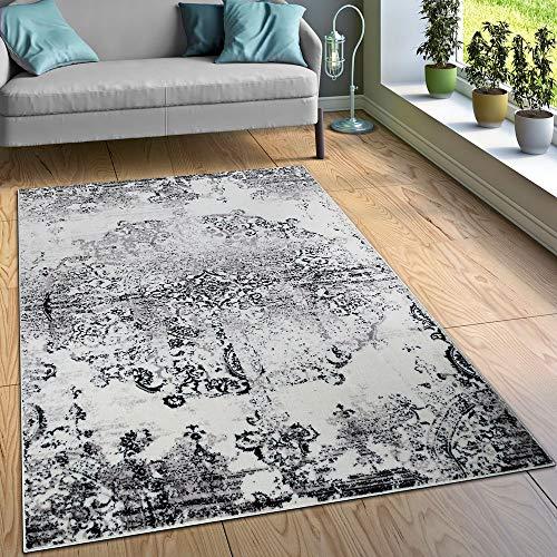 Paco Home Designer Teppich Wohnzimmer Teppiche Ornamente Vintage Optik Schwarz Weiß, Grösse:80x150 cm