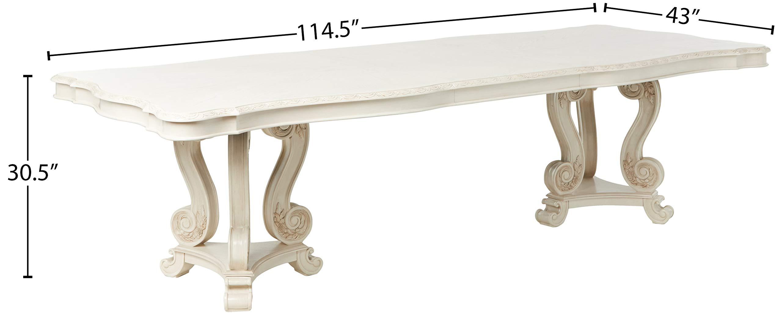 Amazon Com Acme Furniture Ragenardus Double Pedestal Dining Table Antique White Buffets Sideboards