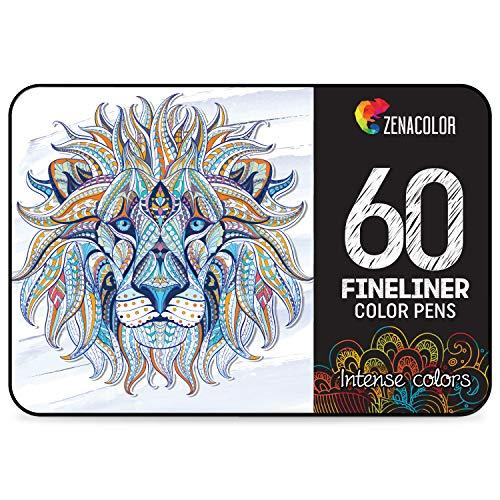 60 rotuladores punta fina Zenacolor – 60 colores únicos – Bolígrafo fineliner 0,4 mm – Tinta base agua – Perfectos para colorear (adultos), dibujar, manga, caligrafía o trabajos que requieran preción.
