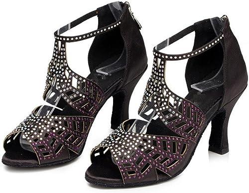 Byjia Chaussures De Danse Chaussure De Salsa De Femme Chaussure De Danse Latérale à Talons Hauts Soutien-Gorge à Bas Prix Soutien-Gorge à Anneaux En Dentelle Ankle Classical Sandals noir