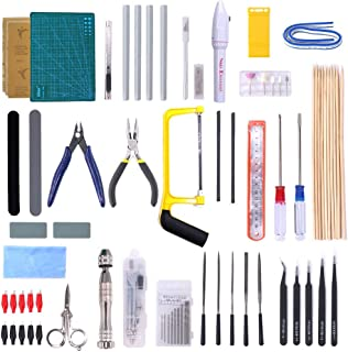 Swpeet 57Pcs Modeler Basic Tools Craft Set Hobby Building Tools Kit for Gundam Car Model Building