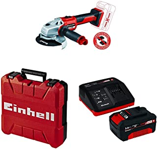 Einhell 4431142 Axxio Cordless Angle Grinder with Einhell 4512041 18V 3,0Ah PXC Starter Kit Battery, 260 V, red, Black, 3,...