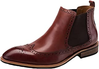 Santimon Mens Chelsea Dress Boots Leather Wing Tip Brogue Style