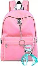TYPIFY® Fashion Waterproof Nylon Women Girls Backpack Korean Design Drawstring Chain travel College Office Bag (PINK-PR)