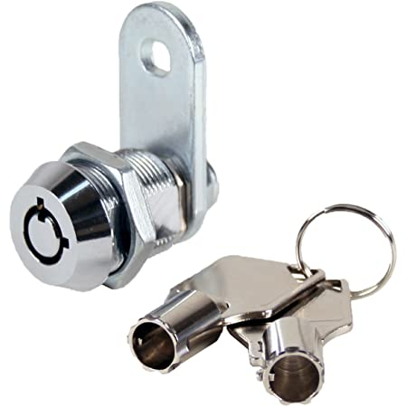 """FJM Security 2400AS-KA Tubular Cam Lock with 5/8"""" Cylinder and Chrome Finish, Keyed Alike"""