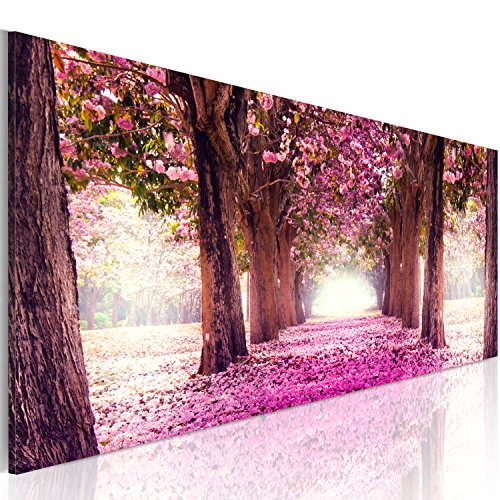 murando Cuadro en Lienzo Bosque Flores 120x40 cm 1 Parte