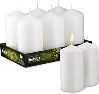 BOLSIUS Set of 6 White Unscented Pillar Candles – Large White Pillar Candle Set for Weddings, Parties and Special Occasion Décor – Non-drip White Candles with 65 Hours Burning Time – 3-inch x 6-inch