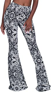Women's Bell Bottom Pants High Waist Flare Boho Print Maxi Trousers