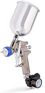 NEIKO 31213A HVLP Gravity Feed Air Spray Paint Gun | Air Gauge Regulator | 600 cc Aluminum Cup | 1.3 mm Nozzle Size