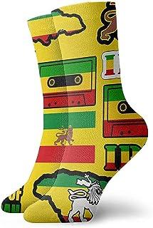 Dydan Tne, Rasta Lion Jamaica Reggae Flag Map Calcetines de Vestir con Cinta magnética Calcetines Divertidos Calcetines Locos Calcetines Casuales para niñas Niños