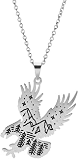 EUEAVAN Starry Sky Series Dashing Eagle Link Chain Stainless Steel Pendant Necklace Gift Jewelry for Men Women