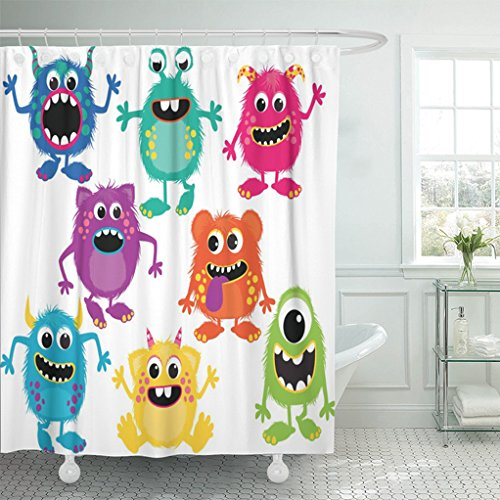 Emvency 72'x72' Shower Curtain Waterproof Mildew Cartoon Fluffy Monsters Cute Little Kid Alien Birthday Party Face Design Picture Print Polyester Fabric Adjustable Hook