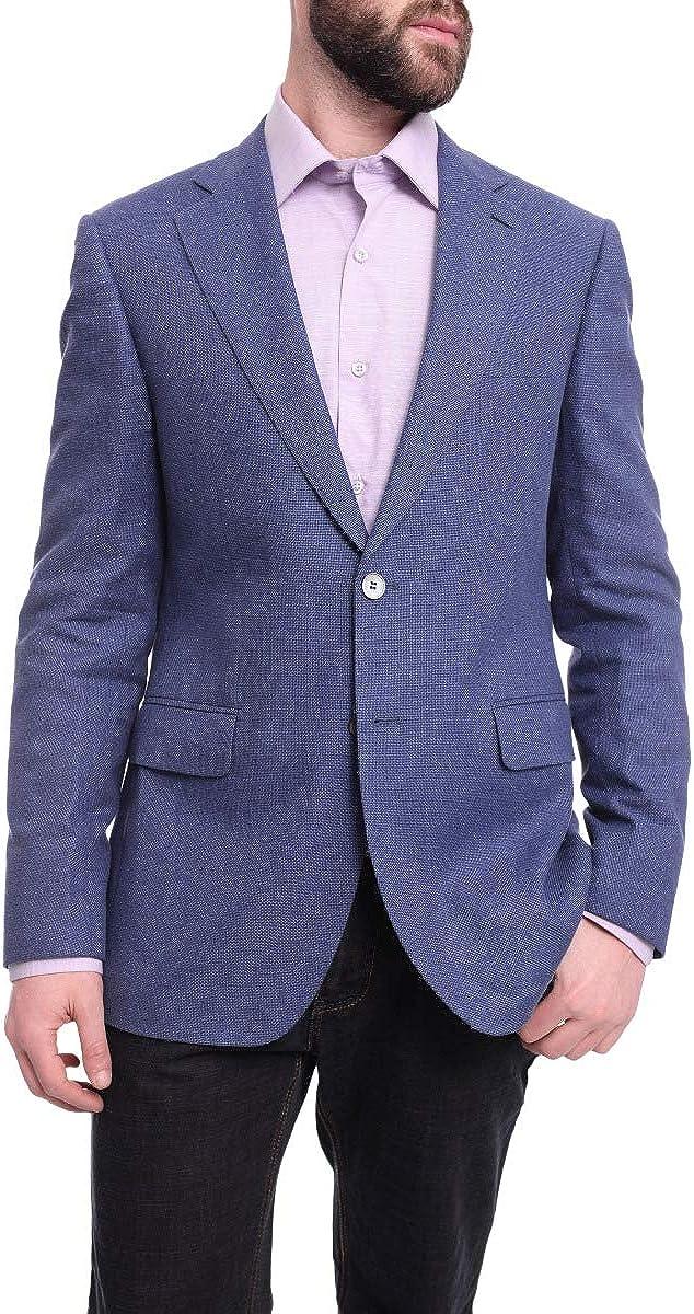 Napoli Slim Fit Blue Textured Two Button Half Canvassed Wool Blend Blazer