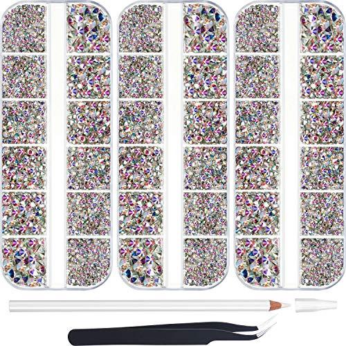9000 Piezas Diamantes de Imitación de AB de Hotfix Cristal Piedras Preciosas Vidrio Redondo Plano de 6 Tamaños de Planchar con Pinzas y 1 Bolígrafo para Bricolaje Manicura, Ropa Arte de Cara Bolsa
