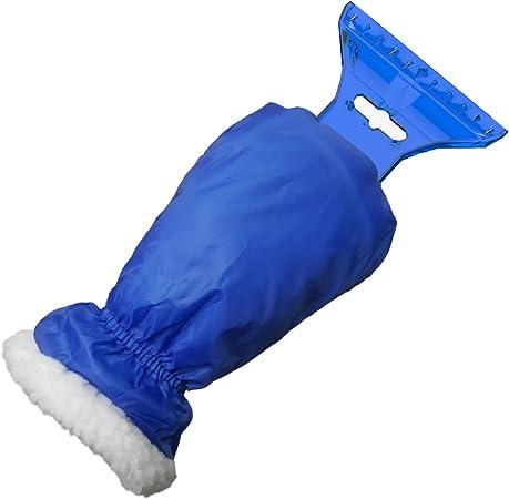 Auprotec Eiskratzer Mit Handschuh Gefüttertes Innenfutter Umschließender Gummizug Mit Eisbrecherkante Blau Auto