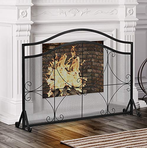 COSTWAY Fire Guard, Decorative Spark Flame Barrier with Metal Mesh and Stable Stand, Iron Fireplace Screen for Baby or Pet Safe