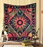 THE ART BOX Hippie Mandala Multi Yellow Sun Moon Burning Sun Psychedelic Trippy Tapestry for Bedroom Celestial Busning Sun Tapestry Bohemian Wall Hanging Planet Tapestry