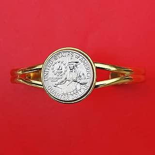 US 1776 - 1976 Bicentennial Washington Quarter BU Uncirculated Coin Gold Plated Cuff Bracelet - Drummer Boy