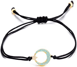 Crescent Moon Star CZ Bracelet Charms Adjustable String Braided Bracelet Handmade