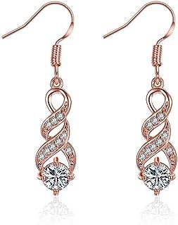 Orecchini pendenti in oro rosa 14K orecchini donna anallergici lunghi gioielli donna(3.7cm)