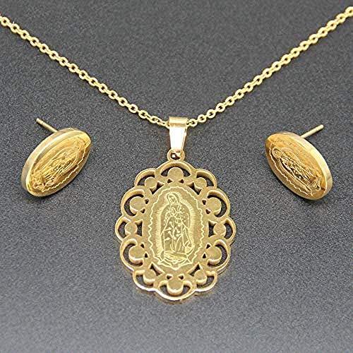LBBYLFFF Collar Pendiente católico y Colgante de Acero Inoxidable con Medalla Ovalada de la Virgen y señora de Guadalupe para Cristianos Collar