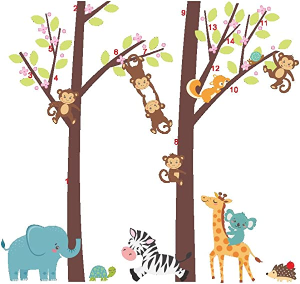 Woodland Arts 3ft X 3ft Jungle Wild Elephant Monkeys Zebra Giraffe Trees Zoo Animal Removable Vinyl Wall Decals Stickers For Children Room Nursery