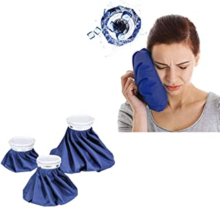 Ice Bag Packs, 3 Pack Reusable Ice Bag Hot Water Bag for Injuries, Hot & Cold Therapy and Pain Relief, 3 Sizes, by Ashnna...