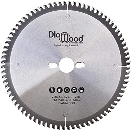 Diamwood Lama per sega circolare Universale 250 x 30 x 3,2//2,2 mm 60 denti TCT alternati per legno