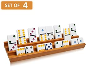 Exqline Wooden Domino Racks Trays Holders Organizer(Set of 4) - Premium Domino Tiles Holder Racks for Mexican Train Dominoes Games - Dominos NOT Included