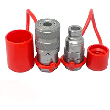 "1/4"" NPT Flat Face Hydraulic Quick Connect Coupler Set w/Dust Caps"