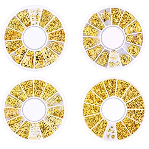HQdeal 4 Boxes Nagel Kunst Strass, 3D Nagel Kunst Dekorationen, Mix Größe Nagel Perlen Glitter Strass Gold Metall Hohlniet Nagelkunst Stern Mond Sonne Nagel Zubehör für DIY Nageldesign