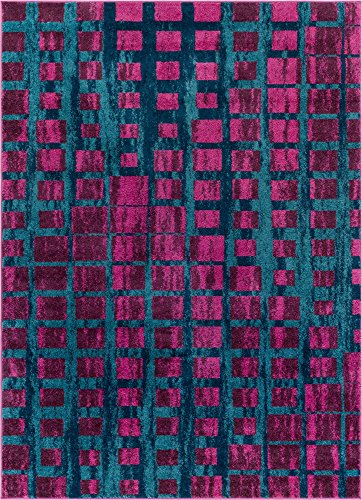 Well Woven Modern Geometric 5x7 (5'3' x 7'3') Area Rug Casablanca Ombre Squares Boxes Purple & Blue Vibrant Abstract Lines Squares Contemporary Thick Soft Plush