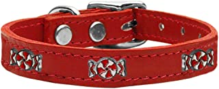 Mirage Pet Products 83-120 Rd10 Peppermint Widget Genuine Leather Dog Collar, Size 10, Red