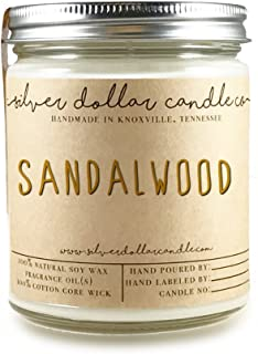 Sandalwood 8oz Scented Candle - Natural Eco-Friendly Hand-Poured Soy Wax by Silver Dollar Candle Co.