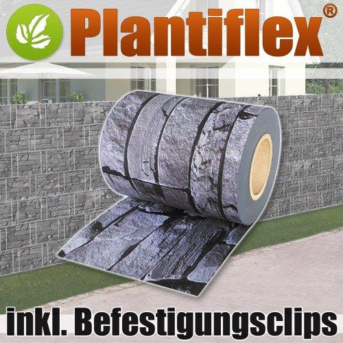 Plantiflex Sichtschutz Rolle 35m Blickdicht PVC Zaunfolie Windschutz für Doppelstabmatten Zaun (Schiefer)