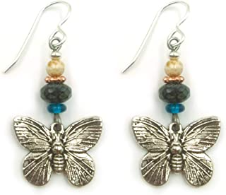 Butterfly Drop Dangle Earrings Antique Silver Plated with Dark Aqua Blue, Black and Bone Color Glass Beads for Women