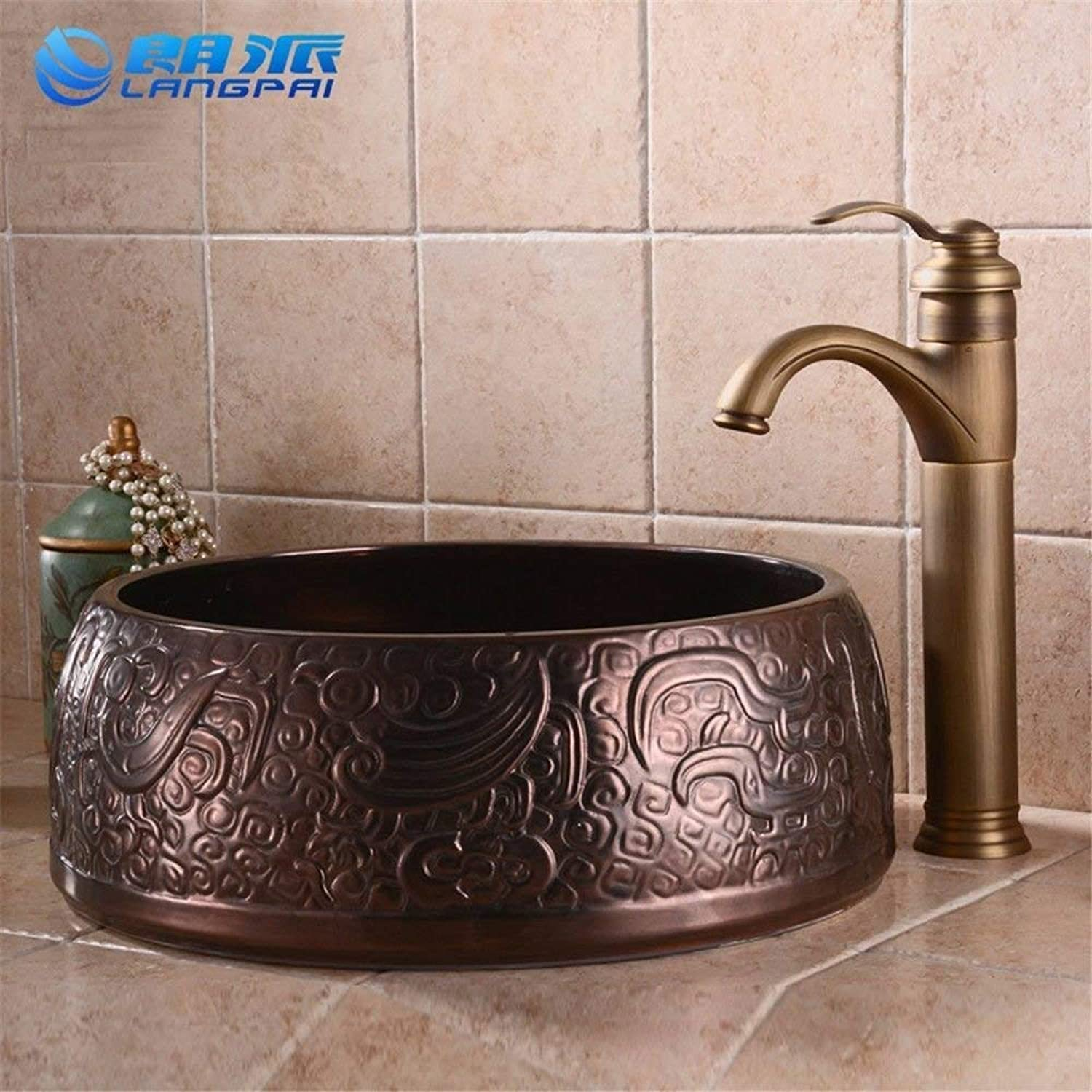 Kitchen Mixer faucets Antique Kitchen Sink Basin Mixer tap Faucet Sink Art Basin Classic Solid Brass hot and Cold (color   -, Size   -)