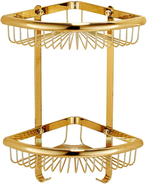 golden 2 Layer Bathroom Corner Shelves Wall-Mounted Copper Storage Basket
