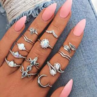 YERTTER Vintage Knuckle Ring Set Bohemian Retro White Rhinestone Joint Knuckle Nail Midi Ring Finger Rings Set for Teens (...