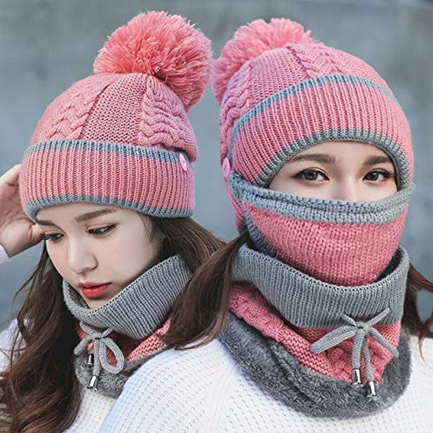 Gperw Comfortable wear Hat female winter thick knit warm hat mask windproof collar autumn and winter riding earmuffs wool cap (color   Pink) Classical Design Hat