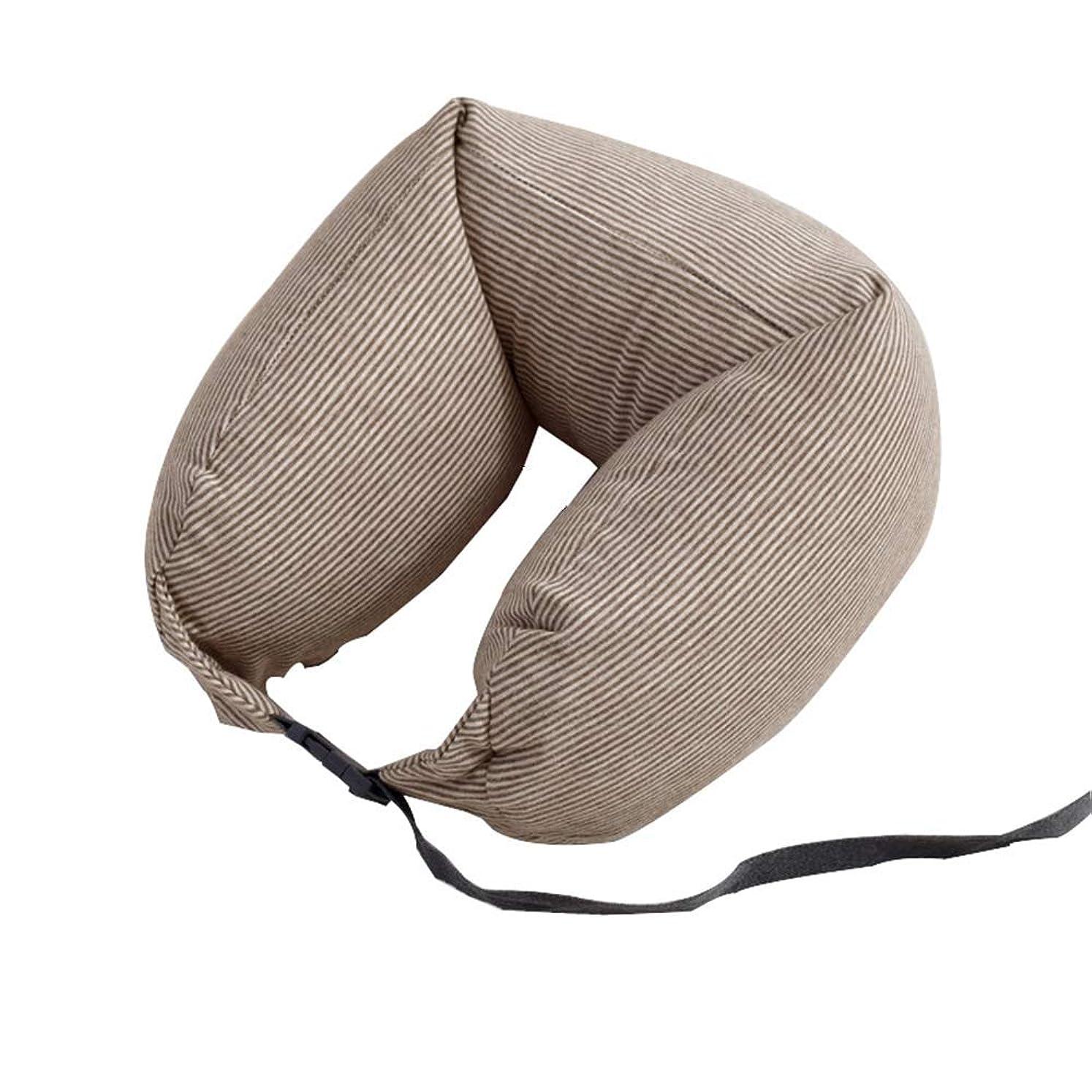 リス純粋に狂うネックピロー ネッククッション 洗えるカバー 無地 ストライプ 携帯枕 低反発 飛行機 旅行 出張 新幹線 便利 昼寝枕 まくら グレー コーヒー ブルー ピンク グリーン