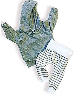 新生男婴女童灰色连帽运动衫上衣 + 条纹裤子套装 幼儿服饰