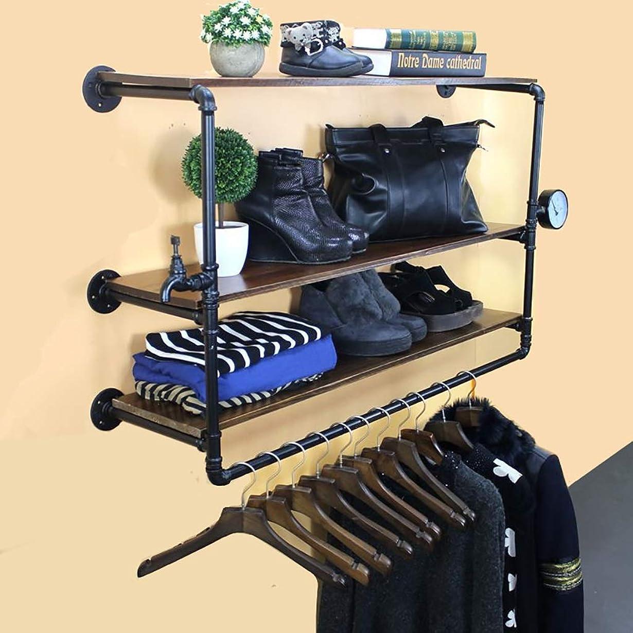 論理的に光電偉業産業3層の壁の浮遊棚の衣服の棚、商業陳列だな、衣服の棒が付いている壁の棚の単位 (Size : 105*29*66cm)