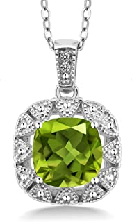 925 Sterling Silver Green Peridot and White Diamond Women Pendant Necklace (2.46 Cttw Center Stone: 8MM Cushion, with 18 Inch Silver Chain)