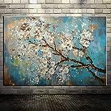 mmzki Las Flores y el árbol dibujan Pinturas al óleo de Morden en Cuadros de la Pared de la Lona para la decoración casera de la Sala en Vivo 60X150CM